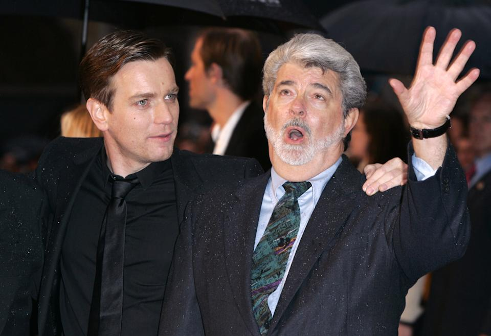 Ewan Mcgregor & George Lucas Attend The 'Star Wars Episode Iii: Revenge Of The Sith' Uk Film Premiere At The Odeon Cinema In London'S Leicester Square. (Photo by Justin Goff\UK Press via Getty Images)