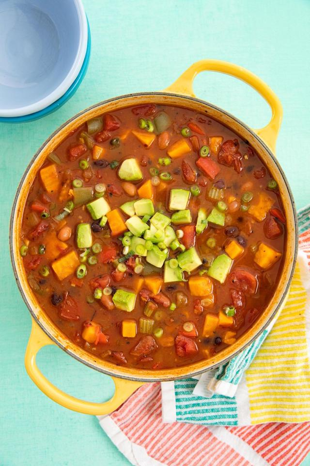 """<p>Who said chili has to have meat anyways?</p><p>Get the recipe from <a href=""""https://www.delish.com/cooking/recipe-ideas/recipes/a58454/easy-vegan-chili-recipe/"""" target=""""_blank"""">Delish</a>.</p><p><strong><a class=""""body-btn-link"""" href=""""https://www.amazon.com/Creuset-Signature-Enameled-Cast-Iron-4-Quart/dp/B0076NOI7A?tag=syn-yahoo-20&ascsubtag=%5Bartid%7C1782.g.4783%5Bsrc%7Cyahoo-us"""" target=""""_blank"""">BUY NOW</a><em> Le Creuset Dutch Oven, $385, amazon.com</em></strong></p>"""