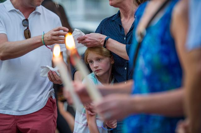 <p>Thousands of people march during a candle light vigil to remember the five journalists from The Capital Gazette newspaper in Annapolis, Md., June 29, 2018. (Photo: Rod Lamkey, Jr./EPA-EFE/REX/Shutterstock) </p>