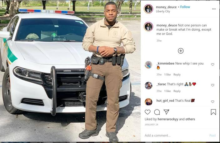 Miami-Dade Police Officer Rod Flowers, as seen on his Instagram account, was arrested by federal agents on Oct. 29, 2020.