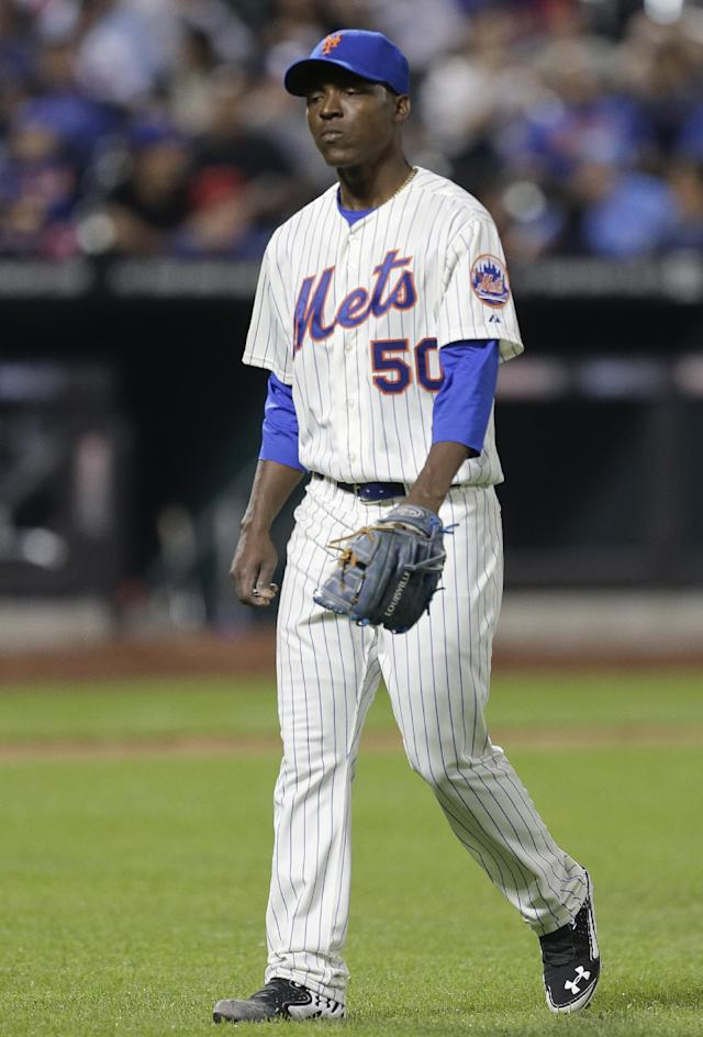 New York Mets starting pitcher Rafael Montero (50) walks off the field after being relieved during the fifth inning of a baseball game against the Los Angeles Dodgers, Tuesday, May 20, 2014, in New York. (AP Photo/Julie Jacobson)
