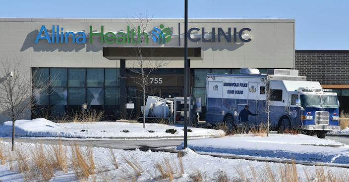 A Minneapolis Bomb Squad vehicle is parked near the entrance to the Allina Health Clinic Tuesday, Feb. 9, 2021, in Buffalo.