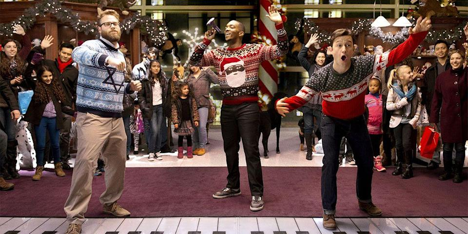 "<p>A sleeper hit of 2015, Jonathan Levine's holiday fantasy traverses the debauchery of NYC on a quest to find the Nutcracka Ball and stars a trio of guys—Joseph Gordon-Levitt, Seth Rogen, and Anthony Mackie—who make ugly sweaters look good. Bonus: Ilana Glazer as Rebecca Grinch. <a class=""link rapid-noclick-resp"" href=""https://www.amazon.com/dp/B018AEXT82?tag=syn-yahoo-20&ascsubtag=%5Bartid%7C10056.g.13152053%5Bsrc%7Cyahoo-us"" rel=""nofollow noopener"" target=""_blank"" data-ylk=""slk:Watch Now"">Watch Now</a></p>"