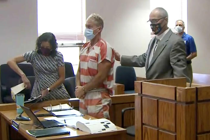 Image; Barry Morphew appears in court in Salida, Colo., on May 6 (Pool/KUSA via AP file)