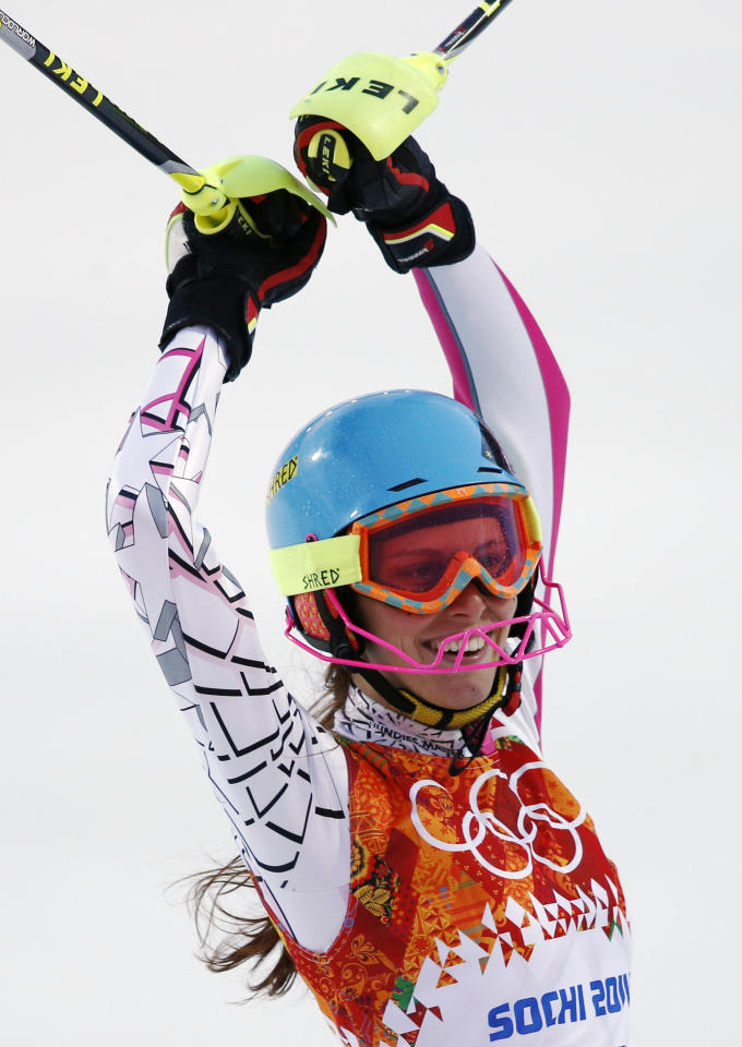 Lebanon's Jacky Chamoun smiles after completing the first run of the women's slalom at the Sochi 2014 Winter Olympics, Friday, Feb. 21, 2014, in Krasnaya Polyana, Russia. (AP Photo/Christophe Ena)