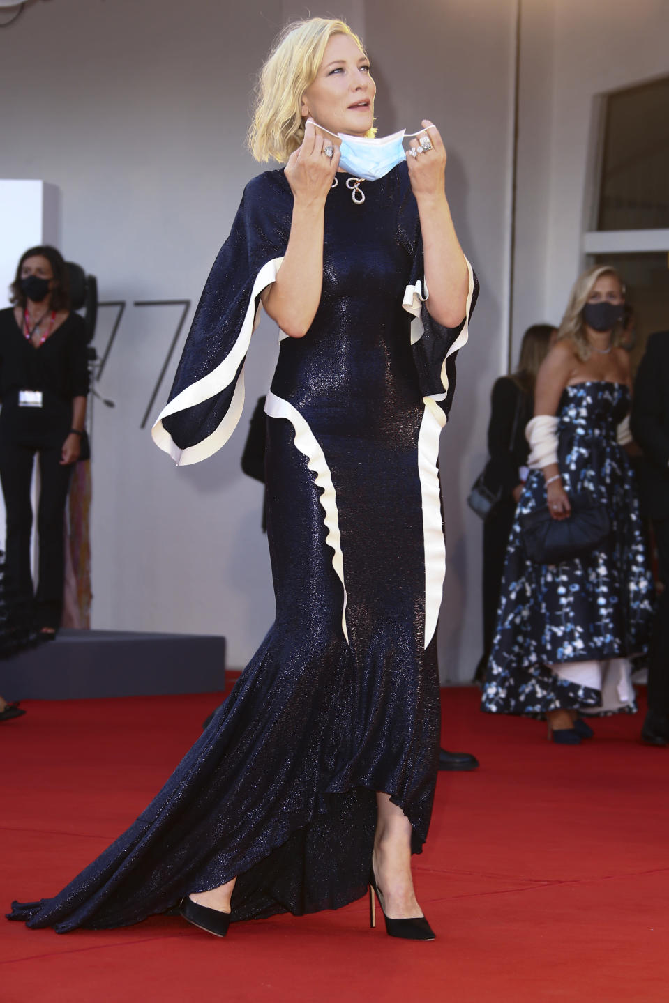 Jury president Cate Blanchett poses for photographers upon arrival at the opening ceremony of the 77th edition of the Venice Film Festival in Venice, Italy, Wednesday, Sept. 2, 2020. (Photo by Joel C Ryan/Invision/AP)