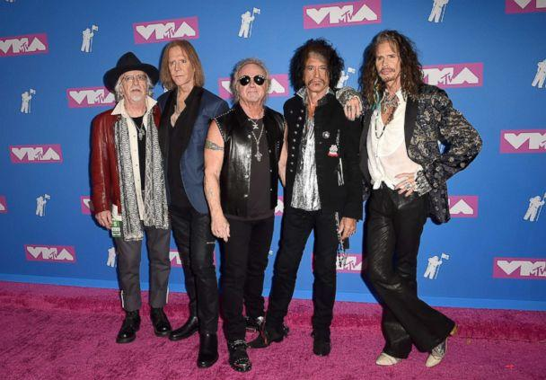 PHOTO: Brad Whitford, Tom Hamilton, Joey Kramer, Joe Perry and Steven Tyler of Aerosmith attend the 2018 MTV Video Music Awards at Radio City Music Hall on Aug. 20, 2018 in New York City. (Axelle/Bauer-Griffin/FilmMagic/Getty Images)