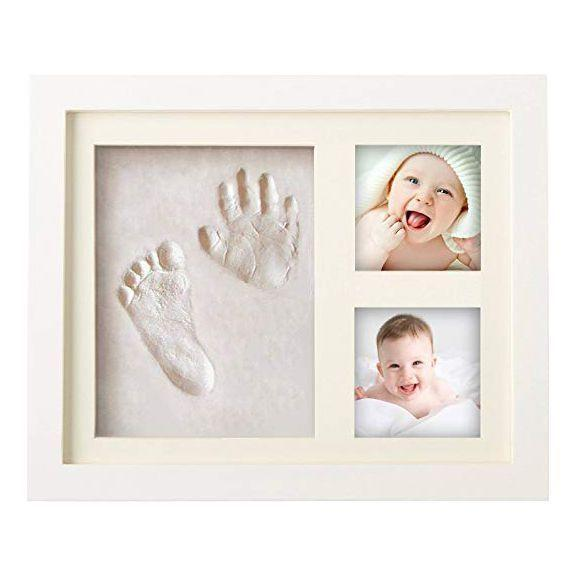 """<p><strong>MyMiniJoy</strong></p><p>amazon.com</p><p><strong>$29.95</strong></p><p><a href=""""https://www.amazon.com/dp/B0755PRVSB?tag=syn-yahoo-20&ascsubtag=%5Bartid%7C10070.g.36267034%5Bsrc%7Cyahoo-us"""" rel=""""nofollow noopener"""" target=""""_blank"""" data-ylk=""""slk:Shop Now"""" class=""""link rapid-noclick-resp"""">Shop Now</a></p><p>With over 700 5-star reviews on Amazon, this adorable little keepsake includes two sections for photos and comes with the clay you need to create the imprints. </p>"""
