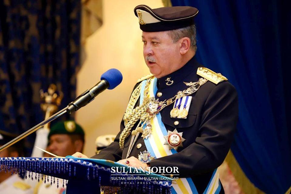 Johor Ruler Sultan Ibrahim Sultan Iskandar confirmed the cancellation of the project's ground-breaking ceremony in a post on his official Facebook account today. — Picture courtesy of the Johor Royal Press Office