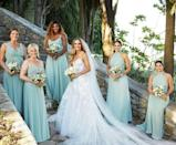 """<p>Serena Williams wore a dazzling sea green color when fellow tennis pro Carlonie Wozniacki tied the knot in Italy. The <a href=""""https://www.vogue.com/slideshow/caroline-wozniacki-david-lee-inside-wedding-tuscany-gallery"""" rel=""""nofollow noopener"""" target=""""_blank"""" data-ylk=""""slk:June 2019 wedding"""" class=""""link rapid-noclick-resp"""">June 2019 wedding</a> was picture perfect.</p><p><a href=""""https://www.instagram.com/p/By7sLdAnyAn/"""" rel=""""nofollow noopener"""" target=""""_blank"""" data-ylk=""""slk:See the original post on Instagram"""" class=""""link rapid-noclick-resp"""">See the original post on Instagram</a></p>"""