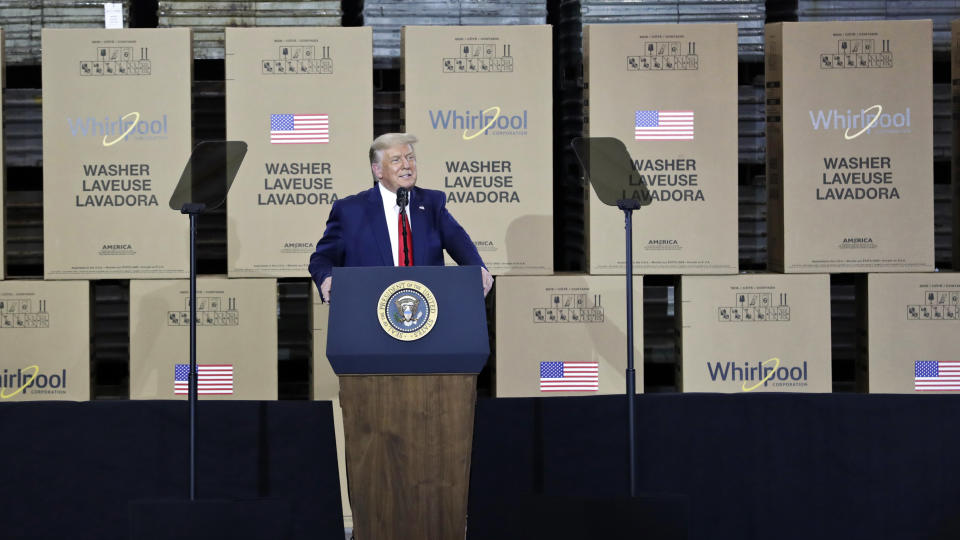President Donald Trump speaks during an event at the Whirlpool Corporation Manufacturing Plant, Thursday, Aug. 6, 2020, in Clyde, Ohio. (AP Photo/Tony Dejak)