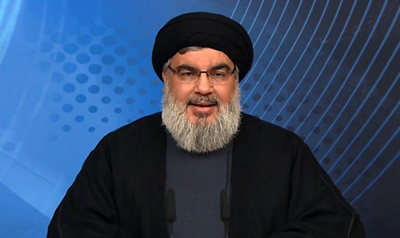 Image grab taken from Hezbollah's al-Manar TV on May 16, 2015, shows Hassan Nasrallah, the head of Lebanon's militant Shiite Muslim movement Hezbollah, giving a televised address from an undisclosed location in Lebanon (AFP Photo/)