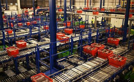 A general view shows the inside the Ocado Customer Fulfilment Centre in Hatfield