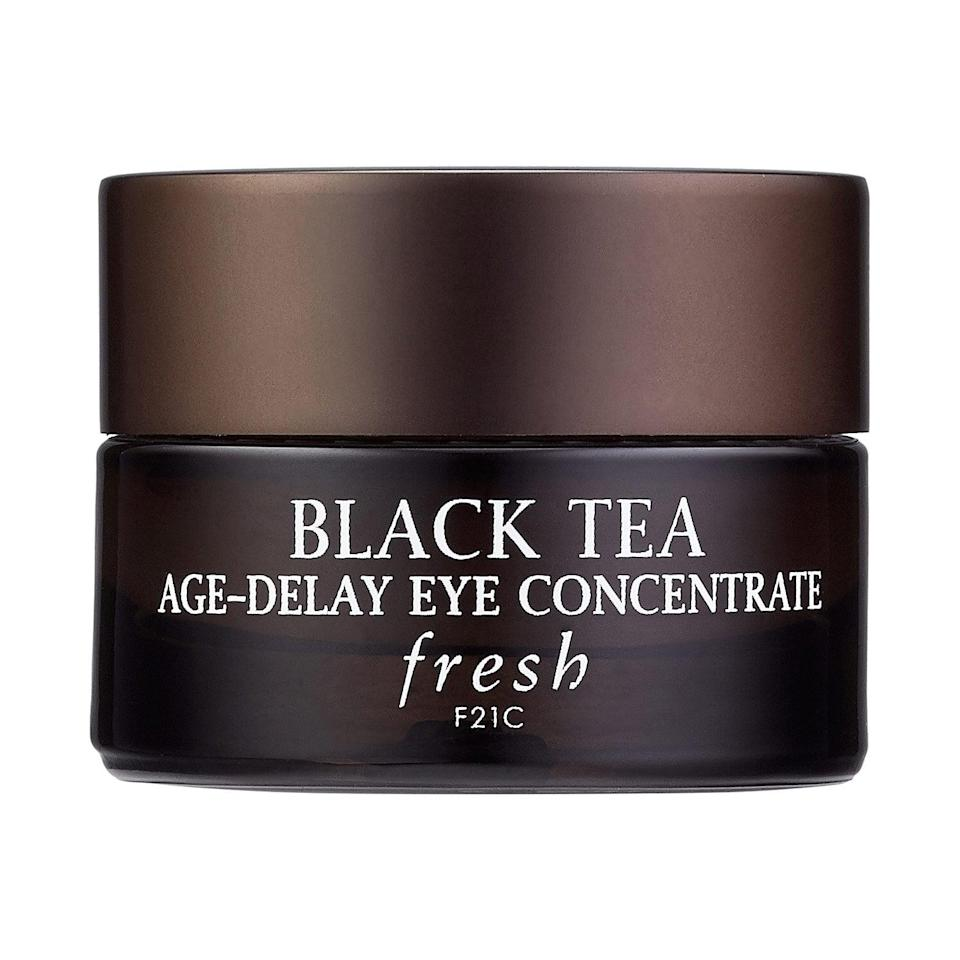 """<p>The <a href=""""https://www.popsugar.com/buy/Fresh-Black-Tea-Firming-De-Puffing-Eye-Cream-553534?p_name=Fresh%20Black%20Tea%20Firming%20and%20De-Puffing%20Eye%20Cream&retailer=sephora.com&pid=553534&price=68&evar1=bella%3Auk&evar9=47275268&evar98=https%3A%2F%2Fwww.popsugar.com%2Fbeauty%2Fphoto-gallery%2F47275268%2Fimage%2F47275280%2FFresh-Black-Tea-Firming-De-Puffing-Eye-Cream&list1=shopping%2Csephora%2Ceye%20cream%2Cvitamin%20c%2Cbeauty%20shopping&prop13=api&pdata=1"""" rel=""""nofollow noopener"""" class=""""link rapid-noclick-resp"""" target=""""_blank"""" data-ylk=""""slk:Fresh Black Tea Firming and De-Puffing Eye Cream"""">Fresh Black Tea Firming and De-Puffing Eye Cream</a> ($68) highlights a complex of kombucha, lychee, and black tea that improves skin's suppleness and slows down free-radical damage. In the case of this top-rated cream (with more than 40,000 loves), the vitamin C comes from noni fruit juice, which helps increase and retain moisture in the skin so it truly glows.</p>"""