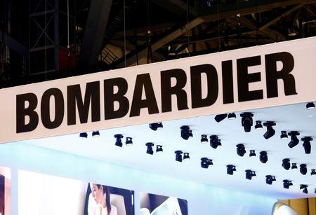 FILE PHOTO - A logo of jet manufacturer Bombardier is pictured on their booth during the European Business Aviation Convention & Exhibition (EBACE) in Geneva, Switzerland on May 22, 2017.  REUTERS/Denis Balibouse/File Photo