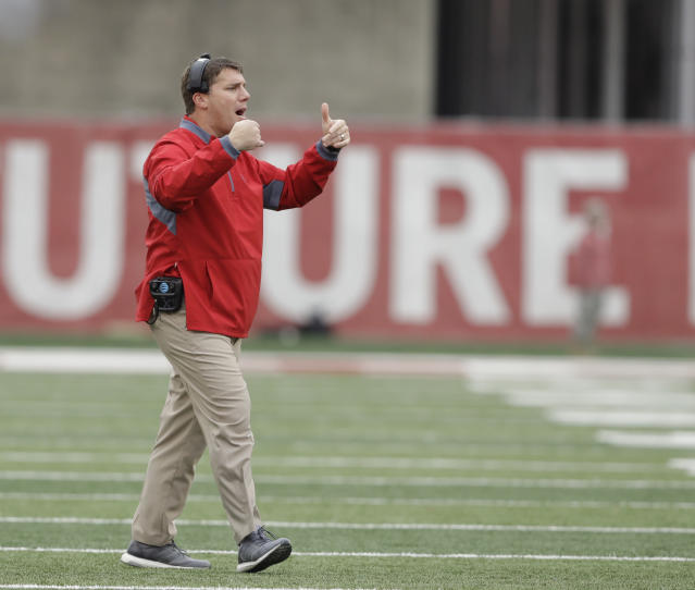 Rutgers head coach Chris Ash in action during the first half of an NCAA college football game against Indiana, Saturday, Nov. 18, 2017, in Bloomington, Ind. (AP Photo/Darron Cummings)