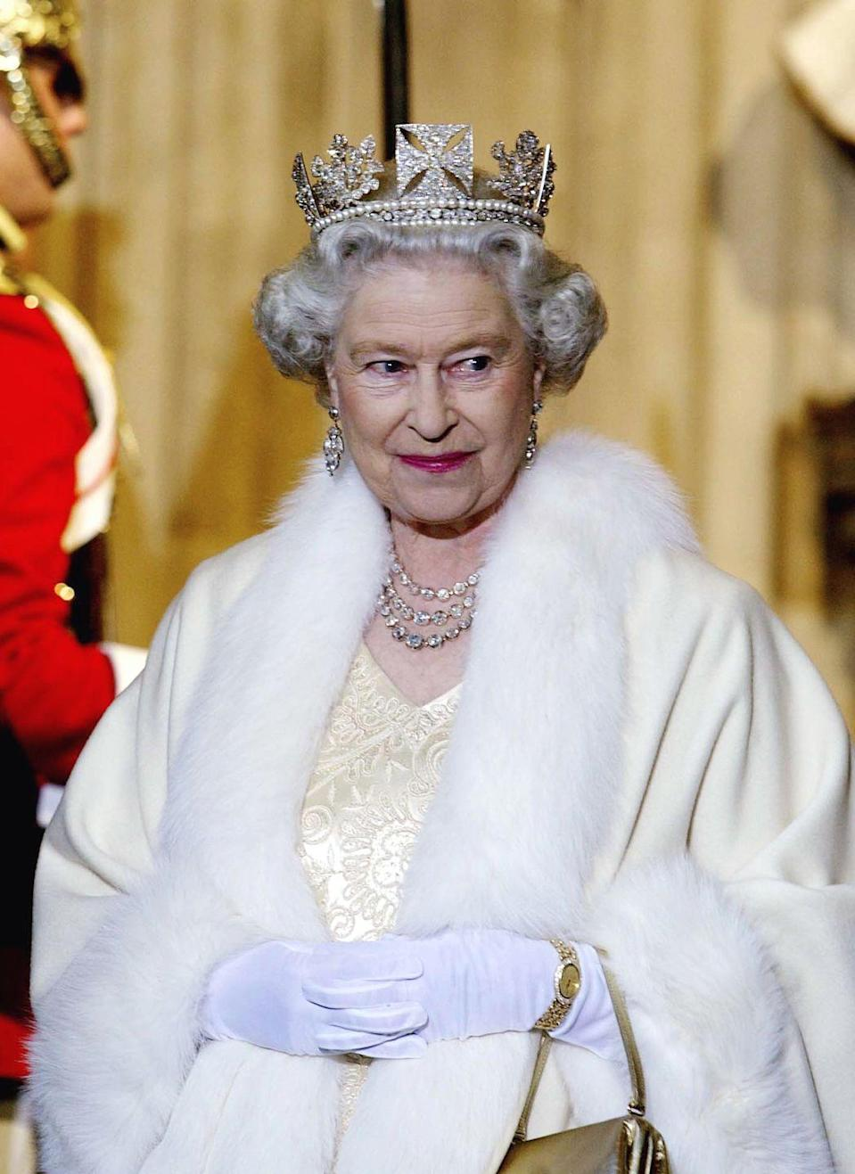 """<p>The Queen's diamond crown, which she's pictured wearing on November 13, 2002, is known as the State Diadem and was made in 1820 for <span class=""""redactor-unlink"""">King George IV</span>, Queen Victoria's uncle. The <span class=""""redactor-unlink"""">diadem</span> is traditionally worn by queens and <span class=""""redactor-unlink"""">queens consort</span> to the <span class=""""redactor-unlink"""">State Openings of Parliament</span>.</p>"""