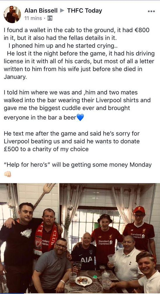 Tottenham fan Alan Bissell reported his encounter with a Liverpool fan in Madrid
