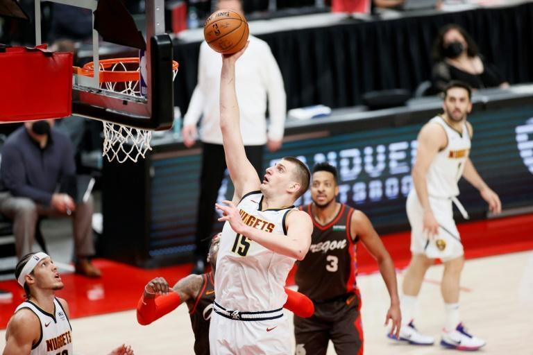 Denver's Nikola Jokic rises for a basket in the Nuggets' 126-115 victory over the Portland Trail Blazers that clinched their NBA playoffs first-round series