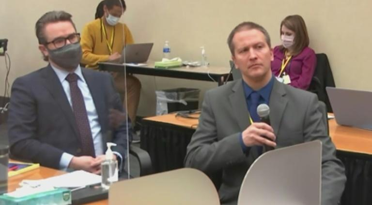 Derek Chauvin (R) tells the judge he does not plan to testify at his trial in this screenshot a Court TV video feed