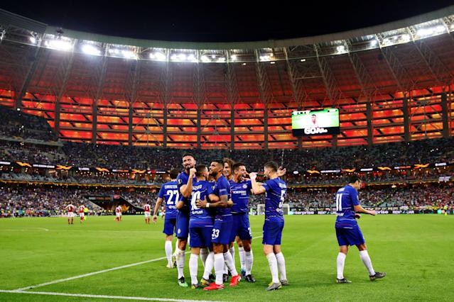 Chelsea players celebrate Eden Hazard's first goal on Wednesday in the Europa League final, which was jarring and fitting in equal measure. (Getty)