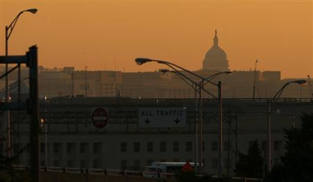 Sunrise over the Capitol on the second day of the government shutdown in Washington