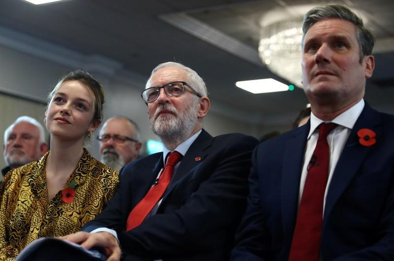 Britain's opposition Labour Party leader Jeremy Corbyn, Shadow Brexit Secretary Keir Starmer and Labour Party candidate for Halrow Laura McAlpine attend a general election campaign meeting in Harlow