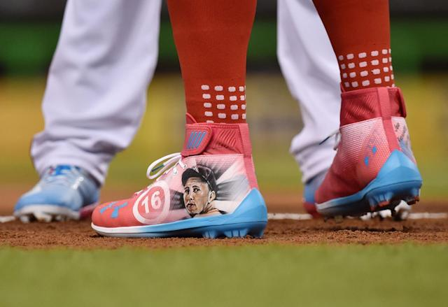 <p>Detailed view of the shoes of National League outfielder Bryce Harper (34) of the Washington Nationals which feature an image of late Miami Marlins pitcher Jose Fernandez before the 2017 MLB All-Star Game at Marlins Park. </p>