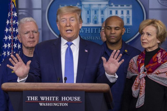 """<span class=""""caption"""">President Donald Trump speaks about the coronavirus in the press briefing room at the White House on March 15, 2020.</span> <span class=""""attribution""""><a class=""""link rapid-noclick-resp"""" href=""""https://www.gettyimages.com/detail/news-photo/president-donald-trump-speaks-to-the-media-in-the-press-news-photo/1212611139?adppopup=true"""" rel=""""nofollow noopener"""" target=""""_blank"""" data-ylk=""""slk:Getty/Tasos Katopodis"""">Getty/Tasos Katopodis</a></span>"""