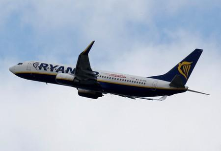 FILE PHOTO: A Ryanair commercial passenger jet takes off in Blagnac near Toulouse