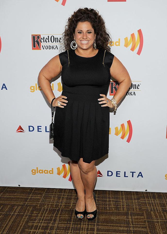 "<p class=""MsoNormal"">""Retired at 35"" star Marissa Jaret Winokur brought her signature sunny smile and curly mane to the fete. She also wore an LBD and black peep-toe heels, and piled on the jewelry.</p>"