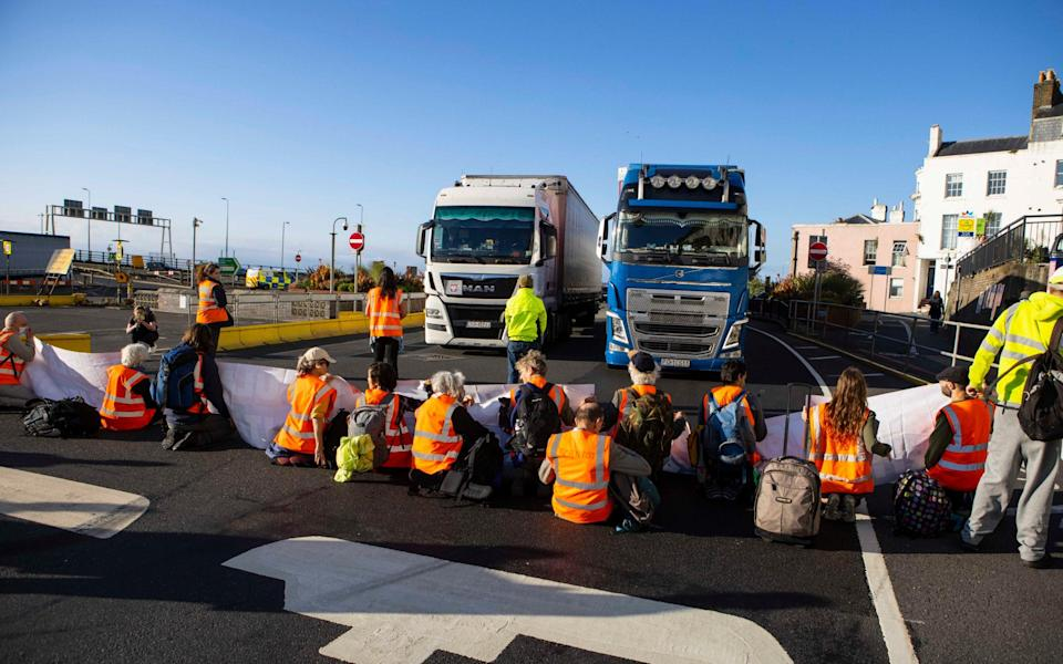 Protesters said they intended to remain at the port 'all day' - Jamie Lorriman