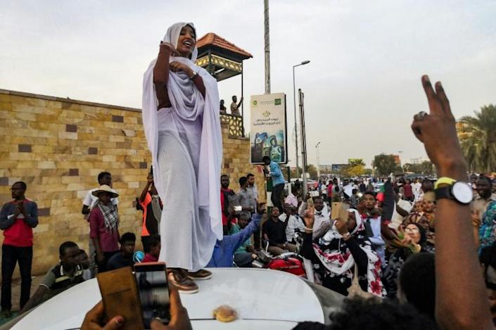 Ala Saleh has become a voice for women's rights in Sudan, where centuries of patriarchal traditions and decades of strict laws under the former regime have severely restricted the role of women (AFP Photo/-)