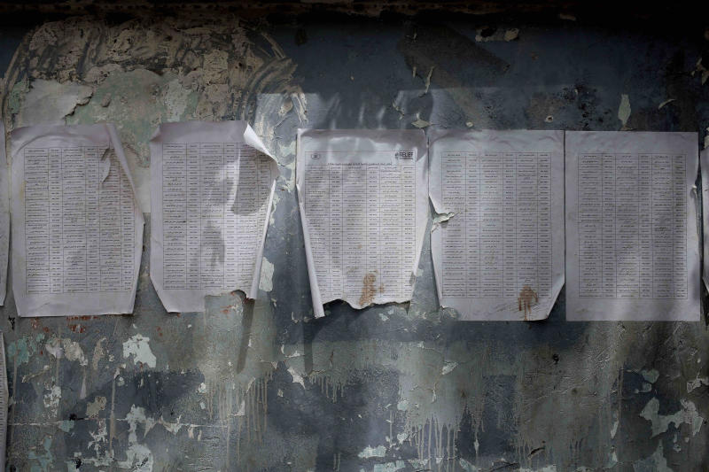 A worn-out list of registered names for aid by Relief International, part of the World Food Program, is posted in Aden, Yemen in this July 23, 2018 photo. The U.N.'s World Food Program has 5,000 distribution sites across the country targeting 10 million people a month with food baskets but says it can monitor only 20 percent of the deliveries. Armed factions on all sides of Yemen conflict are diverting aid for their own purposes, worsening the country's humanitarian crisis, an AP investigation found. (AP Photo/Nariman El-Mofty)