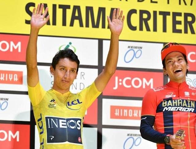 Egan Bernal on the Saitama podium (AFP Photo/Kazuhiro NOGI)