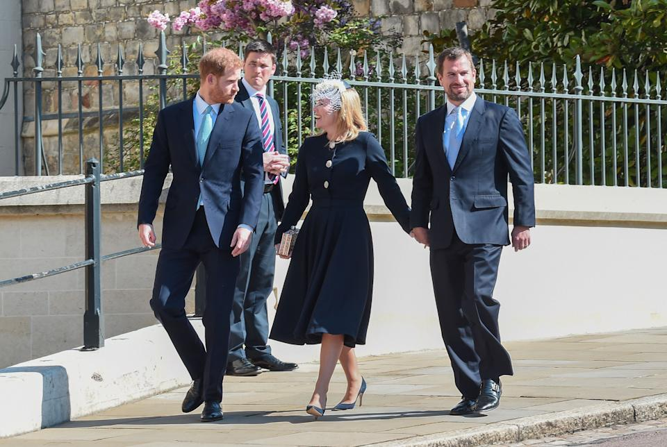 The Duke of Sussex arrives with Peter and Autumn Phillips [Photo: Getty]