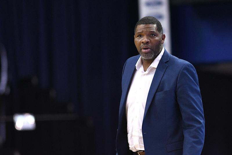 "Evansville coach Walter McCarty has been put on leave following a ""troubling"" alleged Title IX violation. (Photo by Michael Allio/Icon Sportswire via Getty Images)"