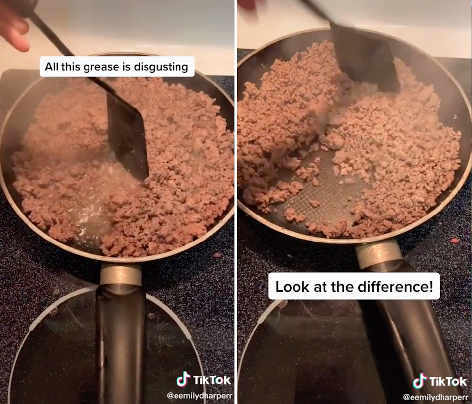 TikTok beef mince before and after.