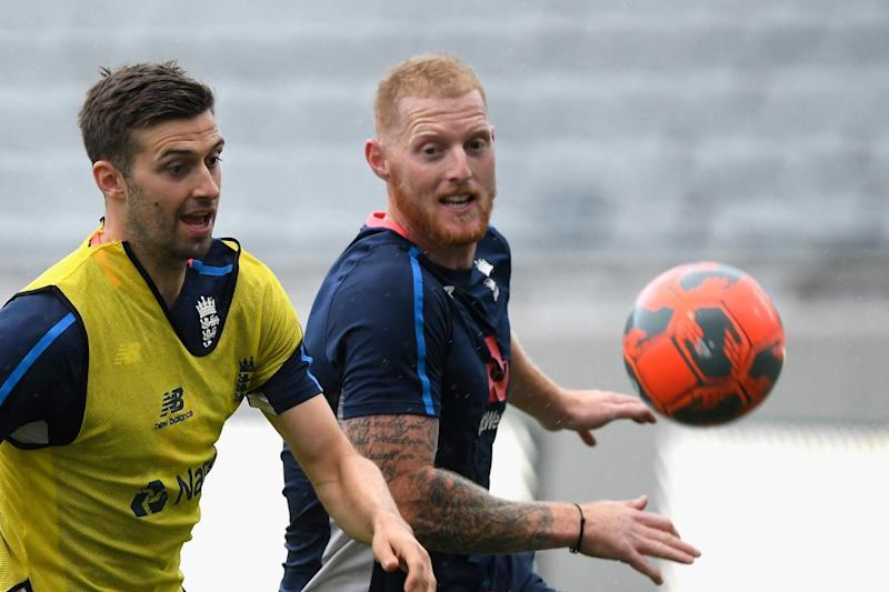 Whole new ball game: Mark Wood and Ben Stokes as they take part in a football match before training on Wednesday: Getty Images