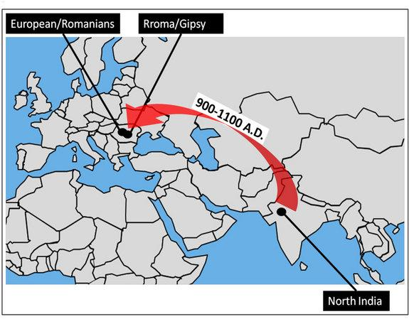 This map shows the migration of Roma people from northwest India to Europe.