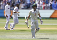 Australia's Steve Smith walks from the field after he was dismissed for no score during play on day one of the Boxing Day cricket test between India and Australia at the Melbourne Cricket Ground, Melbourne, Australia, Saturday, Dec. 26, 2020. (AP Photo/Asanka Brendon Ratnayake)