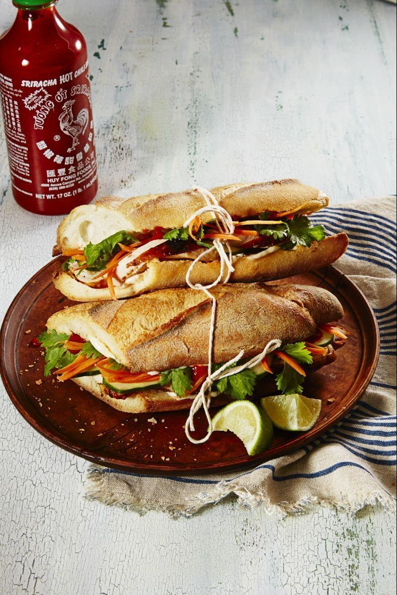"""<p>In lieu of the traditional pork or chicken, showcase some leftover turkey in this Vietnamese-inspired sandwich, piled high with pickled veg and spicy mayo.</p><p><em><a href=""""https://goodhousekeeping.com/food-recipes/a37306/spicy-banh-mi-sandwiches-recipe/"""" rel=""""nofollow noopener"""" target=""""_blank"""" data-ylk=""""slk:Get the recipe for Spicy Bánh Mì Sandwiches »"""" class=""""link rapid-noclick-resp"""">Get the recipe for Spicy Bánh Mì Sandwiches »</a></em><br></p>"""
