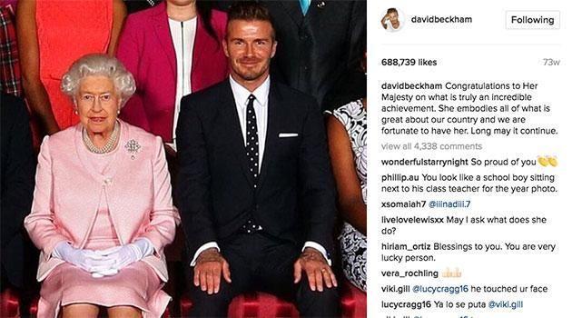 One of David's posts about the Queen. Source: Instagram
