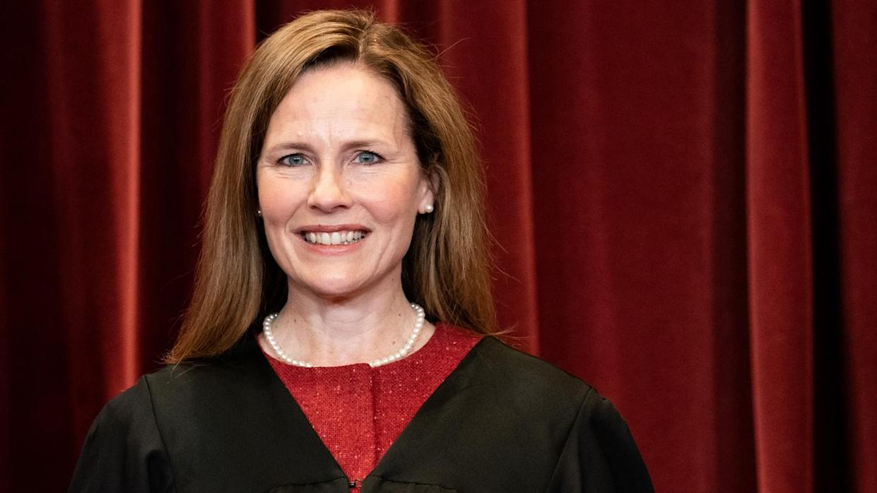 Justice Amy Coney Barrett poses for a group photo of the justices at the U.S. Supreme Court on April 23, 2021. (Erin Schaff-Pool/Getty Images)