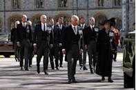 <p>Prince Philip's children and grandchildren walk behind the hearse during the funeral procession. </p>
