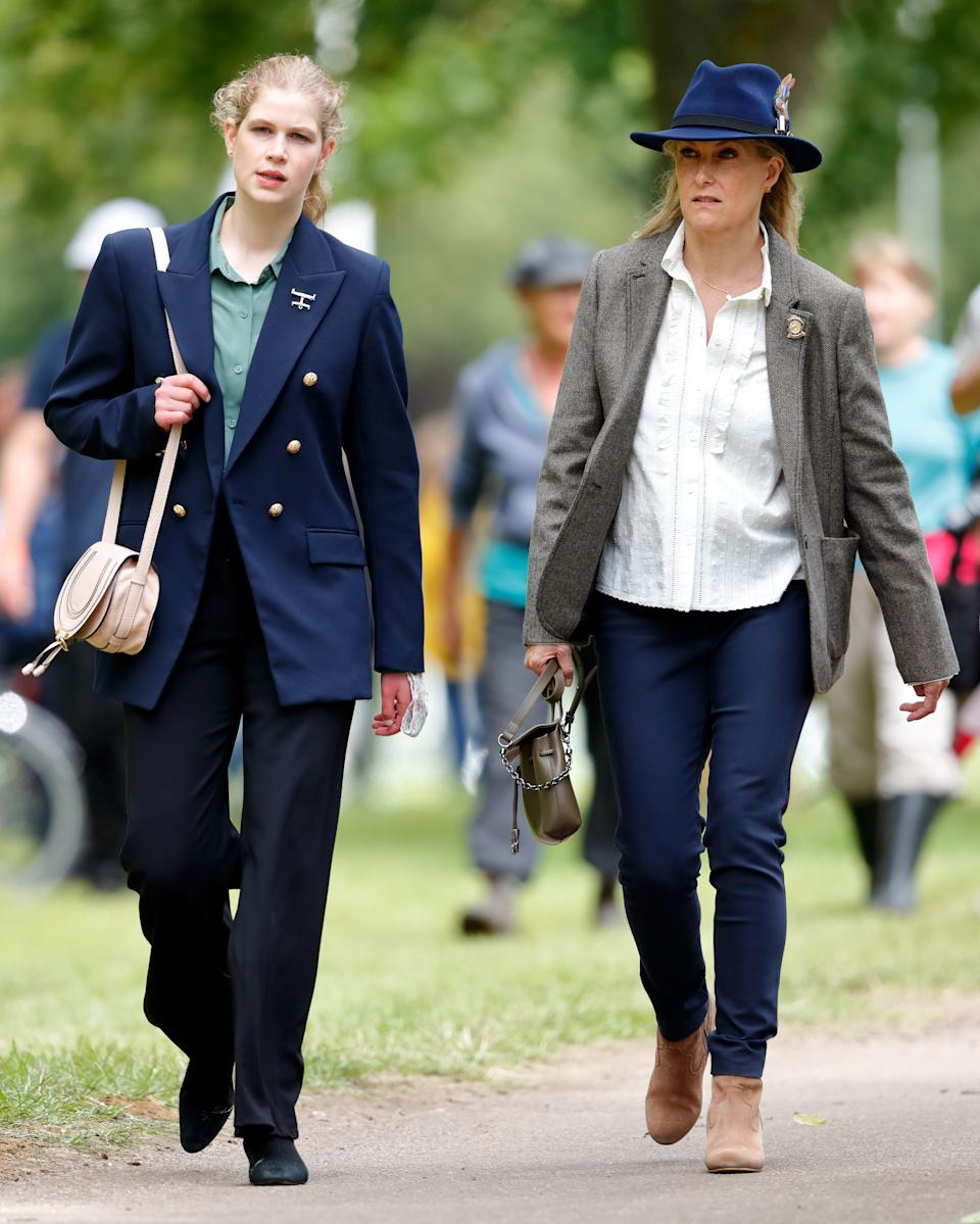 WINDSOR, UNITED KINGDOM - JULY 03: (EMBARGOED FOR PUBLICATION IN UK NEWSPAPERS UNTIL 24 HOURS AFTER CREATE DATE AND TIME) Lady Louise Windsor and Sophie, Countess of Wessex attend day 3 of the Royal Windsor Horse Show in Home Park, Windsor Castle on July 3, 2021 in Windsor, England. (Photo by Max Mumby/Indigo/Getty Images)