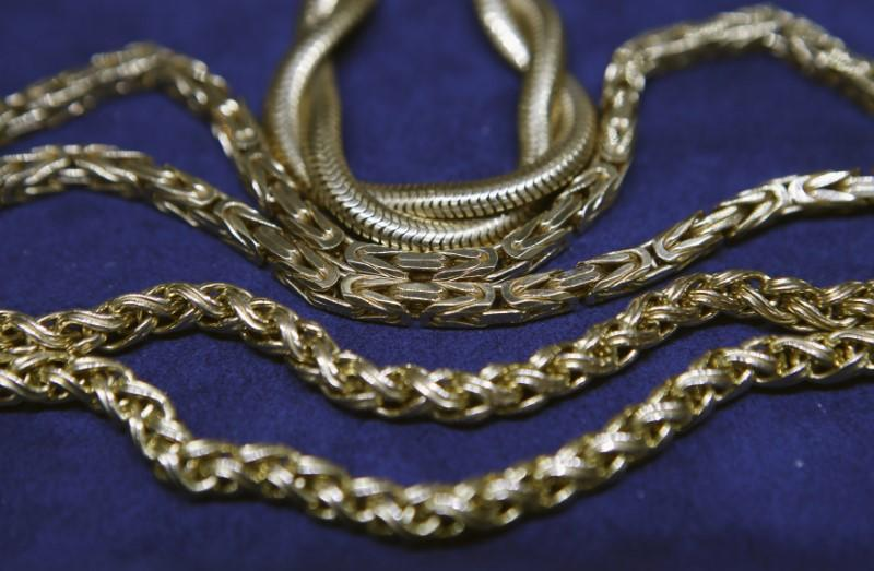 Gold jewelry for sale is seen at a jewelers in New York City