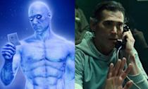 <p>Billy played Dr. Manhattan in Watchmen but appeared in Justice League as Barry Allen's dad. He'll appear in the solo Flash movie too. </p>