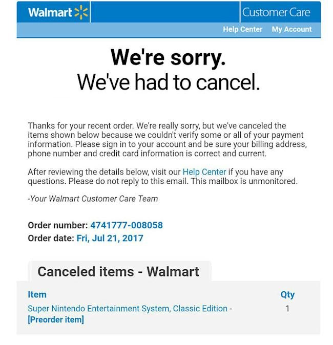 Walmart email (SNES Classic Edition)
