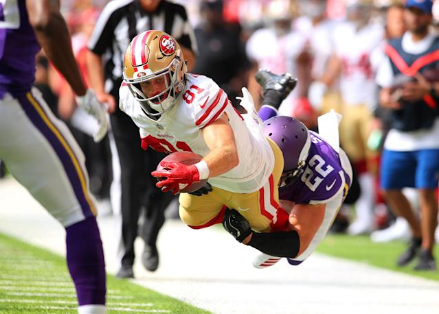 <p>Trent Taylor #81 of the San Francisco 49ers is tackled by Harrison Smith #22 of the Minnesota Vikings in the fourth quarter of the game at U.S. Bank Stadium on September 9, 2018 in Minneapolis, Minnesota. (Photo by Adam Bettcher/Getty Images) </p>
